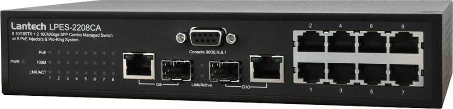 LPES-2208CA | 8 x10/100TX + 2 100M/Giga SFP Combo Managed Switch, w/ 8 PoE Injectors & Pro-Ring System,PoE manažment, Port Mirror: Monitor traffic in switched networks, Bandwidth Control, SNMP Trap & Email Alert…